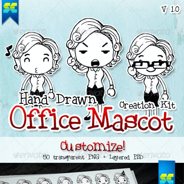 Hand Drawn Female Office & Business Mascot