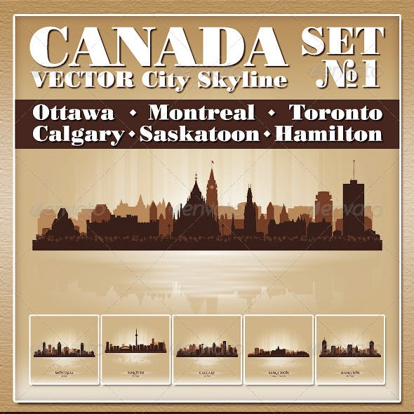 Vector City Skyline Canada Set Number 1