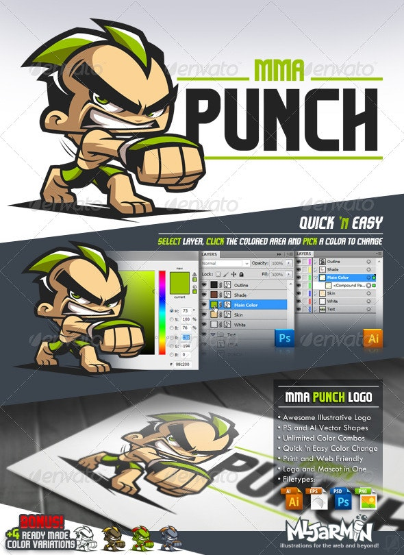 MMA Punch - Cartoon Logo - Humans Logo Templates