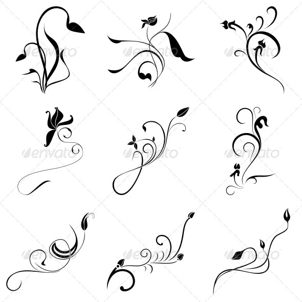 Curly Flowers Designs Vector Pack