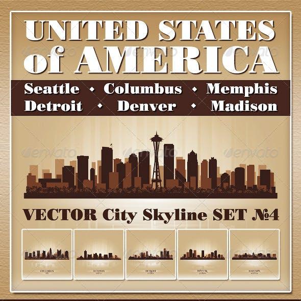 Vector City Skyline USA Set Number 4