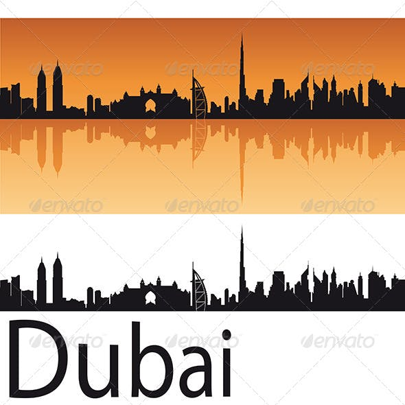 Dubai Skyline in Orange Background