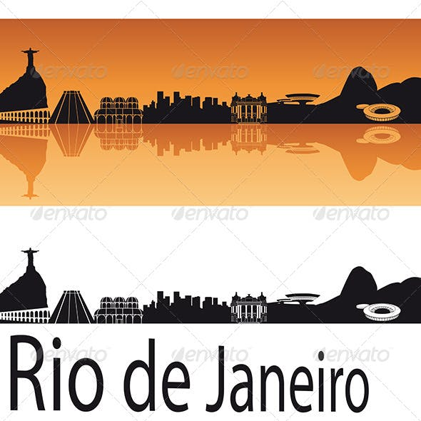 Rio de Janeiro Skyline in Orange Background