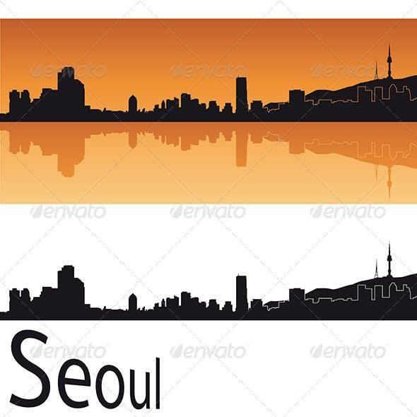 Seoul Skyline in Orange Background