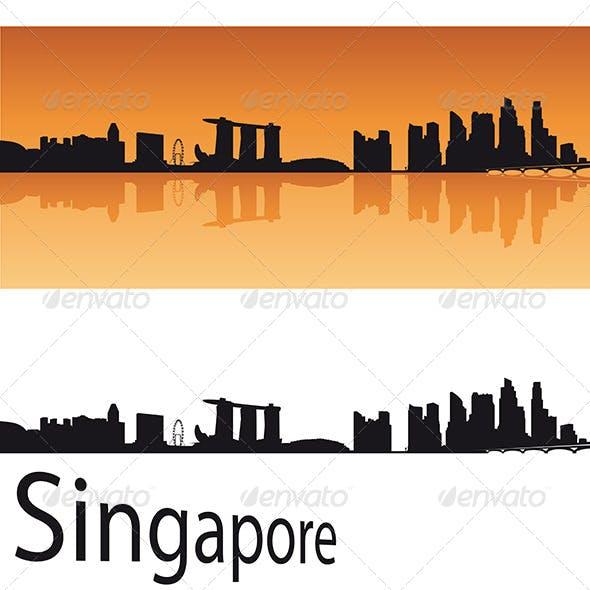 Singapore Skyline in Orange Background