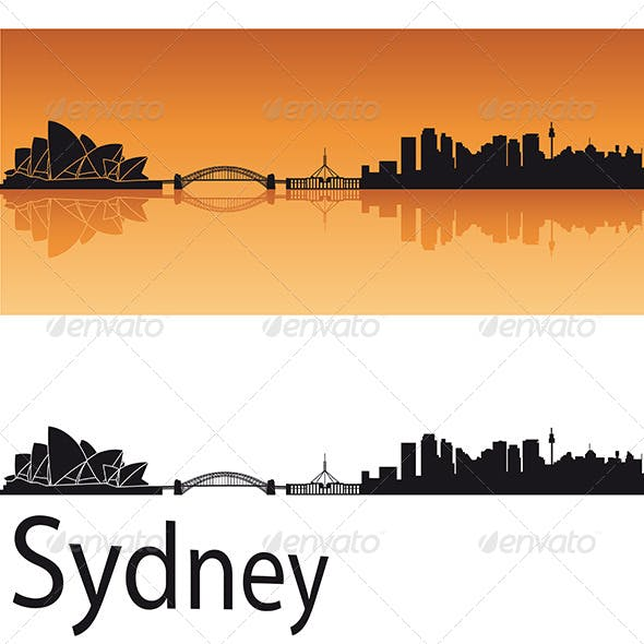Sydney Skyline in Orange Background