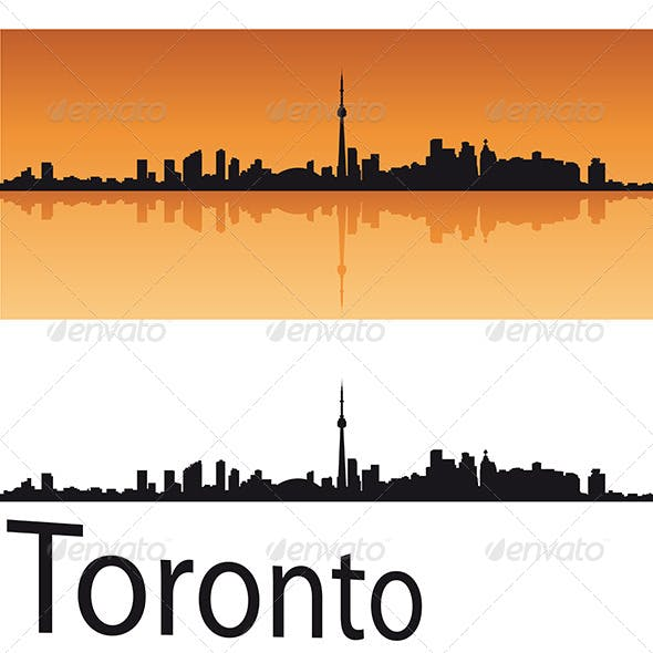 Toronto Skyline in Orange Background