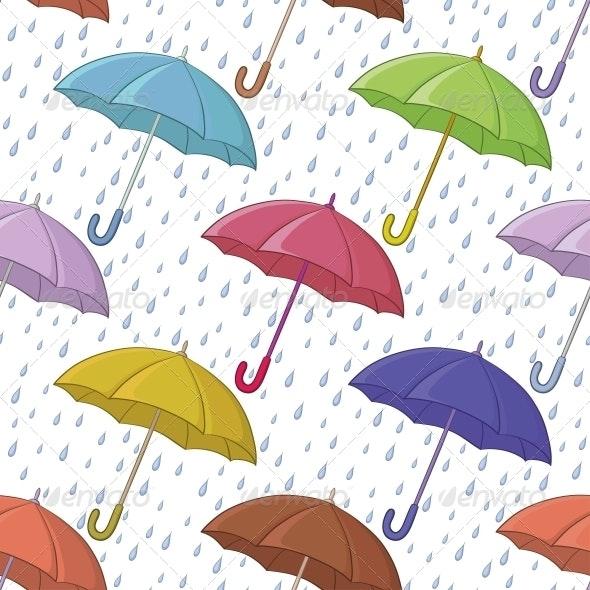 Umbrella and Rain, Seamless Background - Patterns Decorative