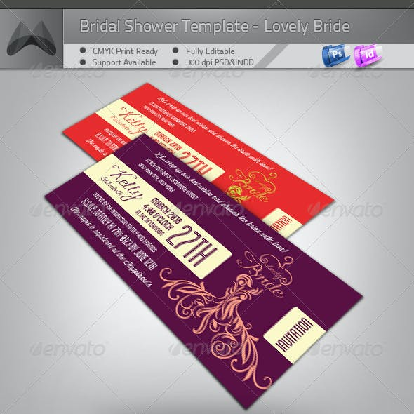 Bridal Shower Invitation - Lovely Bride