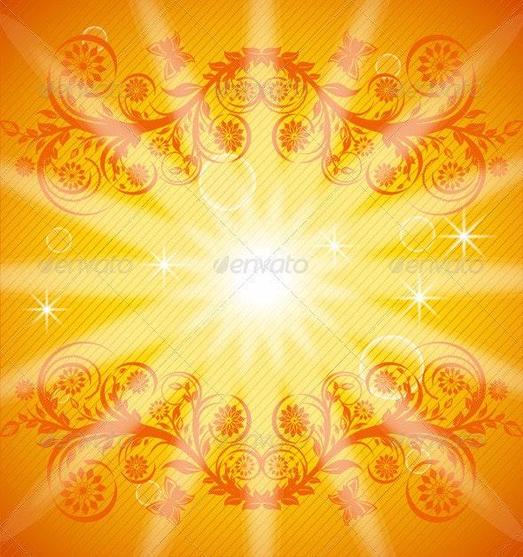 Orange floral background - Flourishes / Swirls Decorative