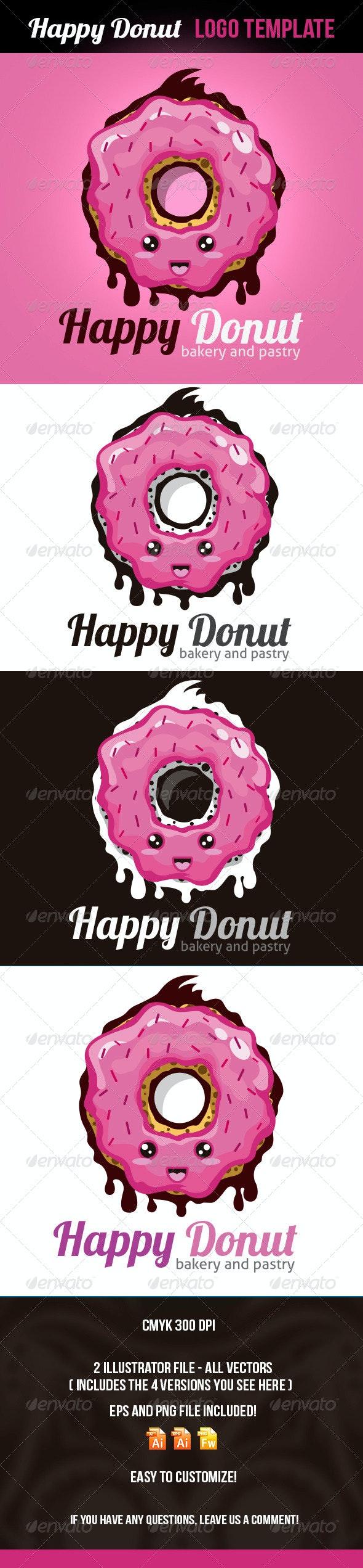 Happy Donut Logo Template - Food Logo Templates
