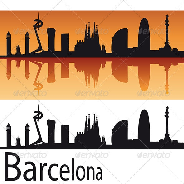 Barcelona Skyline in Orange Background - Buildings Objects