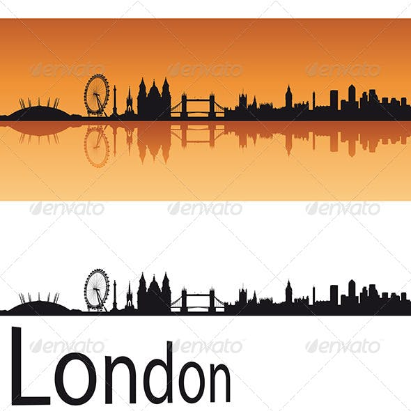 London Skyline in Orange Background