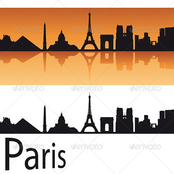 Paris Skyline in Orange Background - Buildings Objects