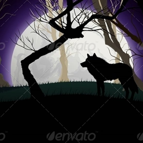 Wild Wolf Silhouette on a Full Moon