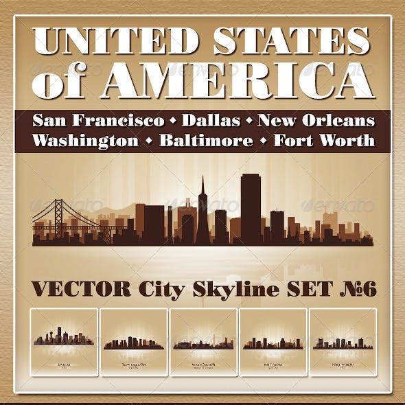 Vector City Skyline USA Set Number 6