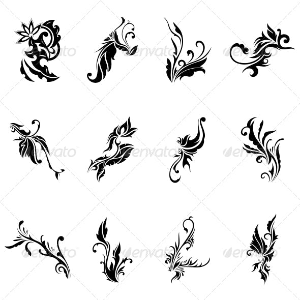 Abstract Tribal Decorative Flowers Vector Pack
