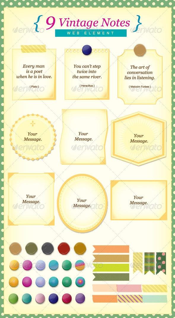 9 Vintage Notes ! - Web Elements Vectors