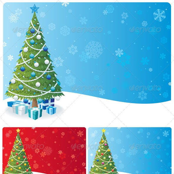 Christmas Tree Background Set