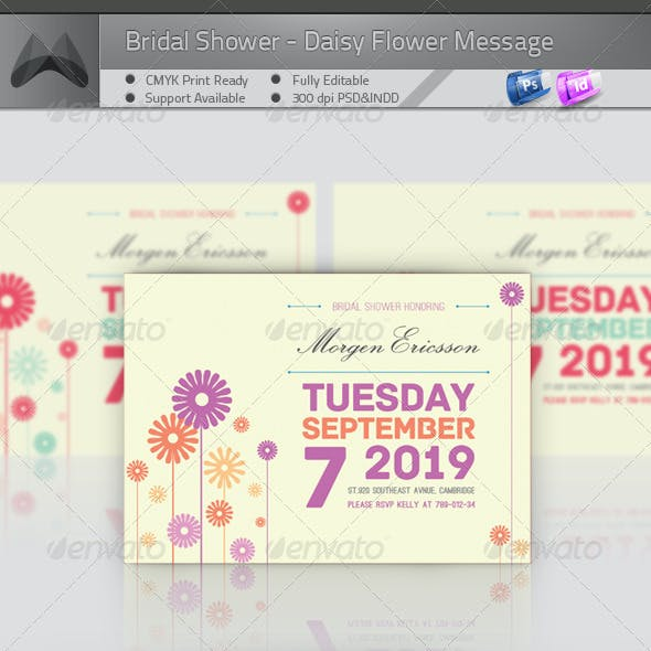 Bridal Shower Invitation - Daisy Flower Message