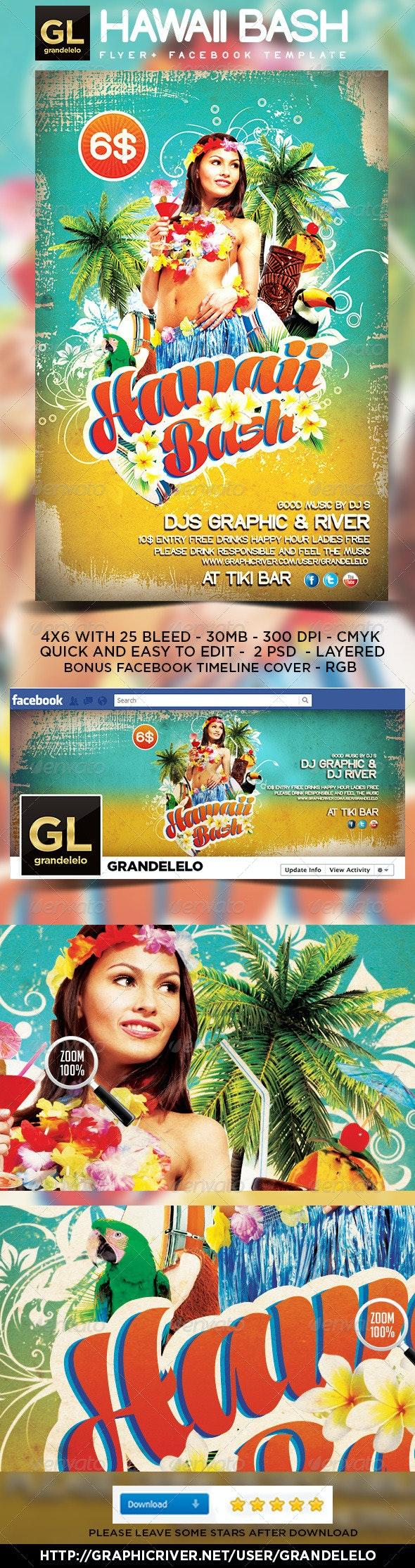 Hawaii Flyer & Facebook Temeplate  - Clubs & Parties Events