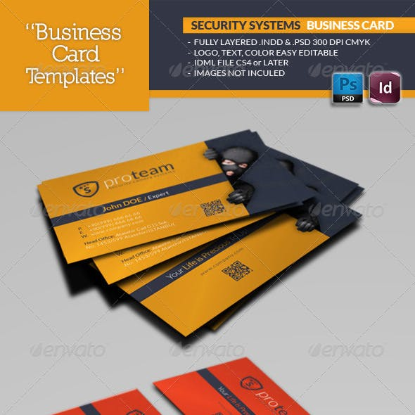 Security Systems Business Card Template