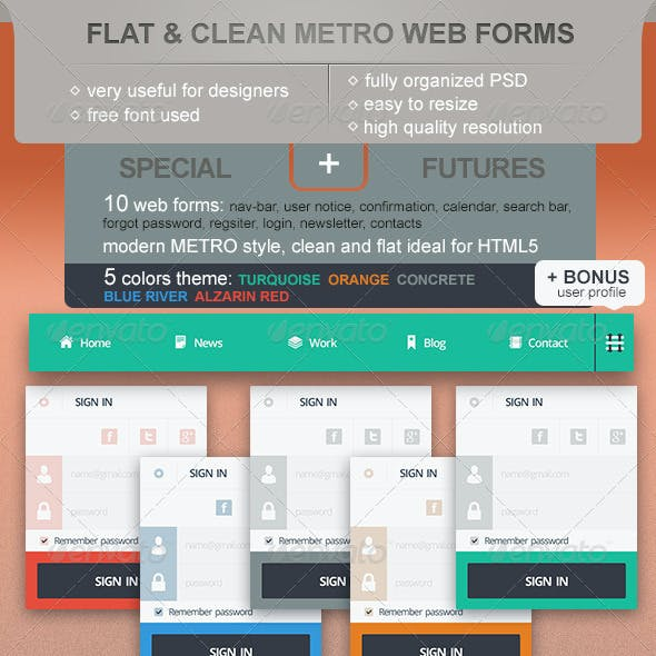 Flat and Clean Metro Web Forms