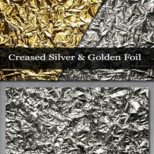 Creased Silver and Golden Foil