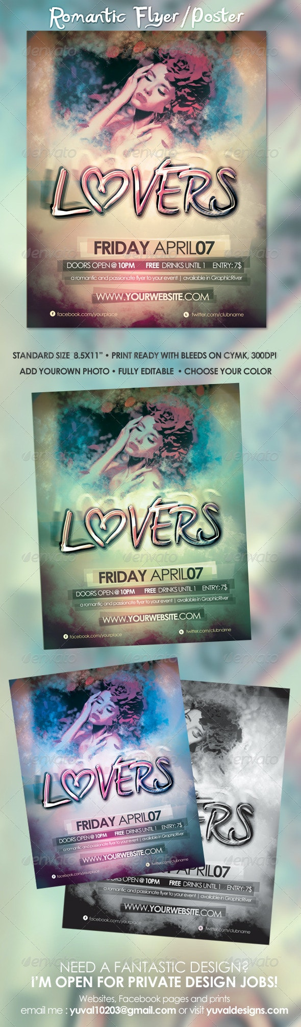 Romantic Poster Template - Clubs & Parties Events