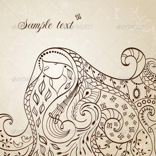Long Haired Girl. Vector Illustration.