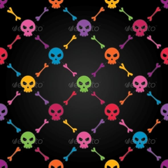 Multicolor Seamless Pattern with Skulls