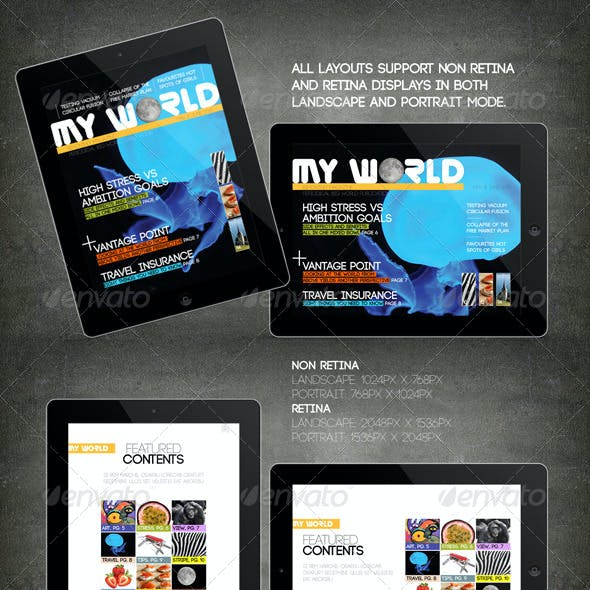 iPad Tablet Magazine Template 16 Pages