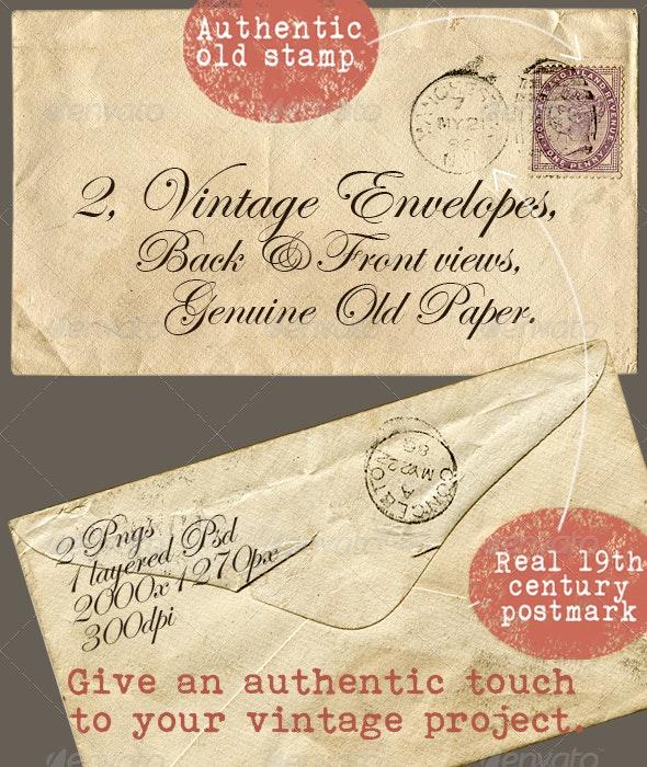 2 Vintage Envelopes - Miscellaneous Graphics
