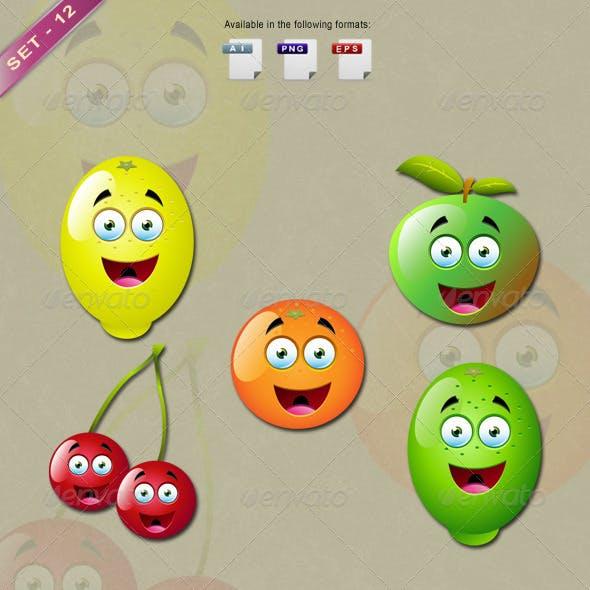 Cartoon Fruit Characters - Set 12
