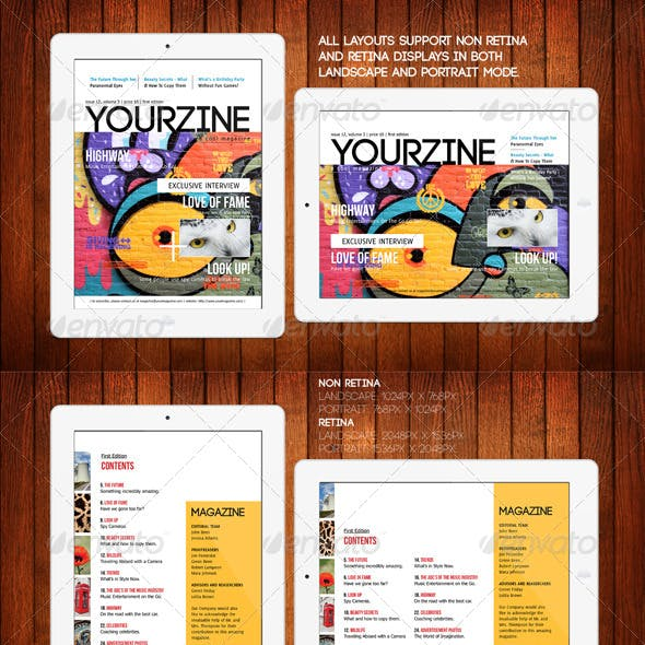 iPad Tablet Magazine Template 28 Pages