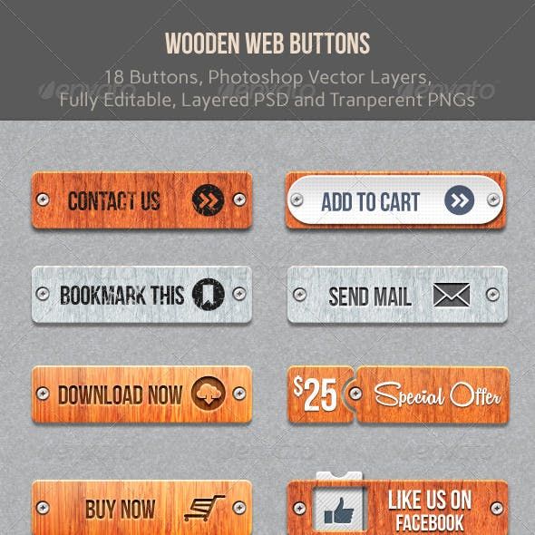 Wooden Web Buttons