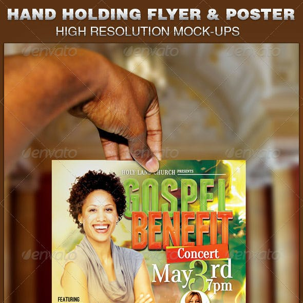 Hand Holding Flyer and Poster Mockup Template