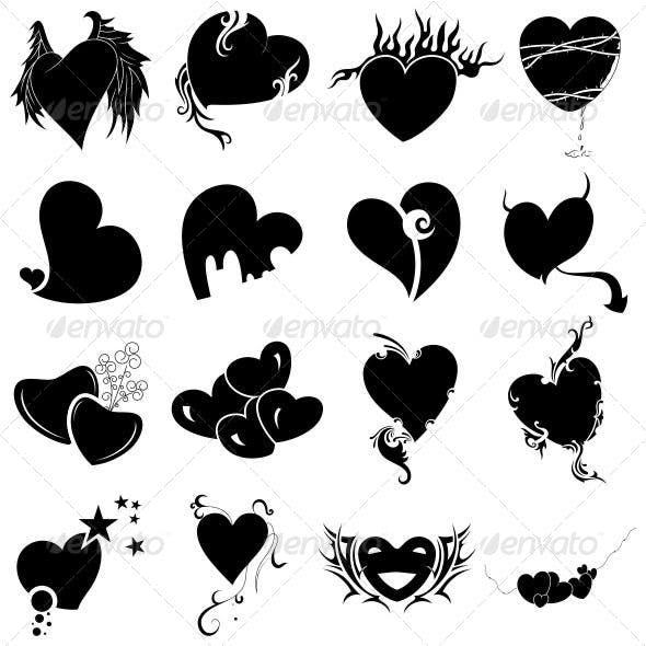 Tribal Heart Tattoo Designs Vector Pack