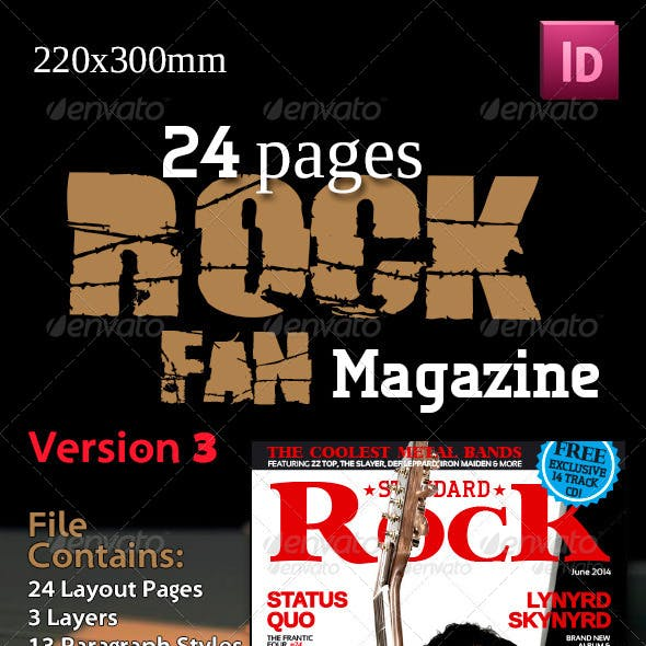 24 Pages Rock Fan Magazine Version Three