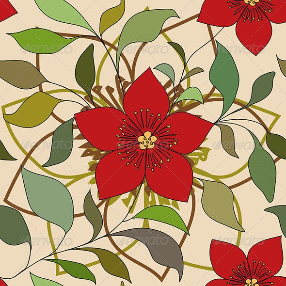 Red Color Flower Pattern