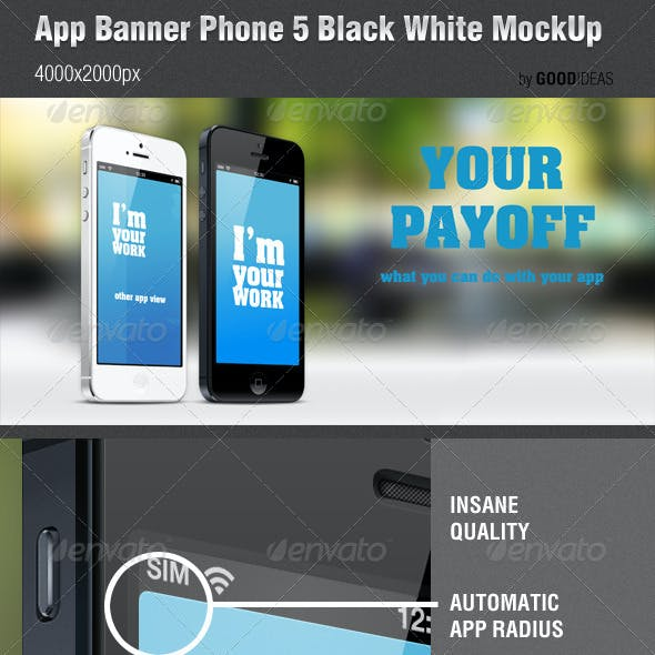 App Banner iPhone 5 Black White MockUp Real Photo