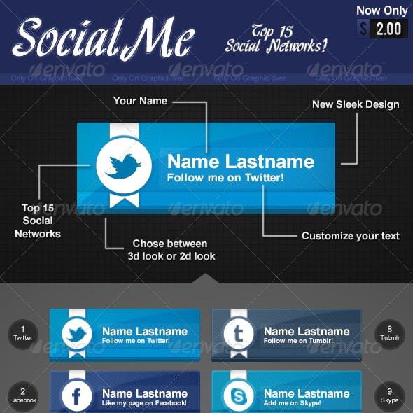 SocialMe 15 Social Network Buttons
