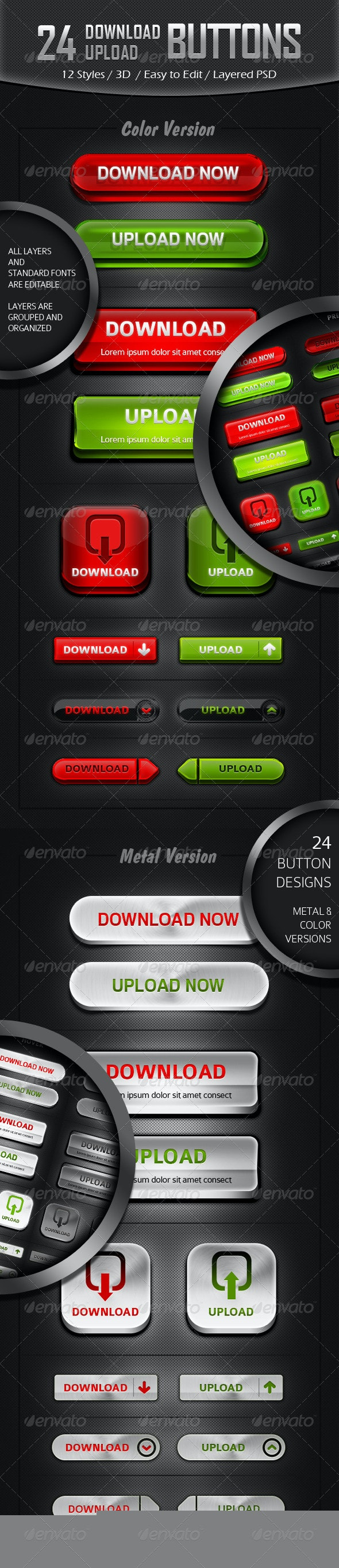 12 Styles - Download/ Upload Button Designs - Buttons Web Elements