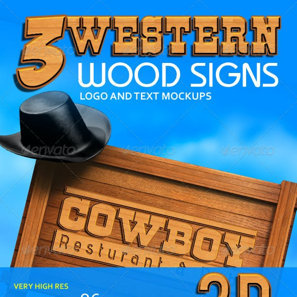 3 Western Wood Signs Logo Mockups