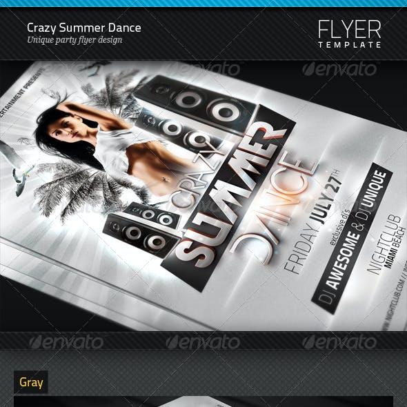 Crazy Summer Dance Party Flyer Template