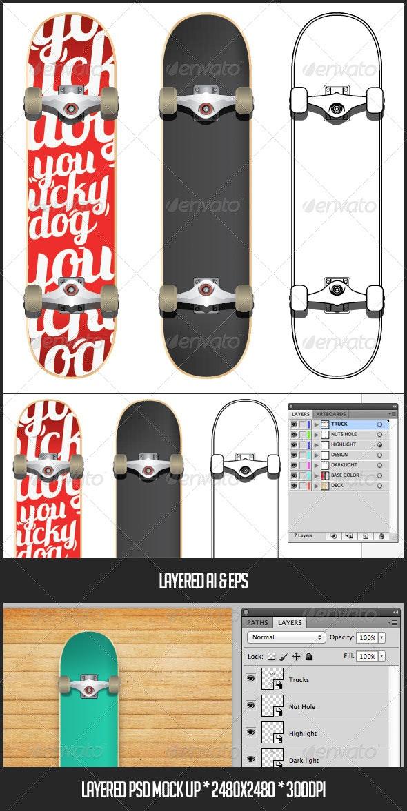 Skateboard Mock-up - Objects Vectors