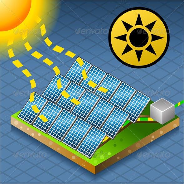 Isometric Solar Panel at Work