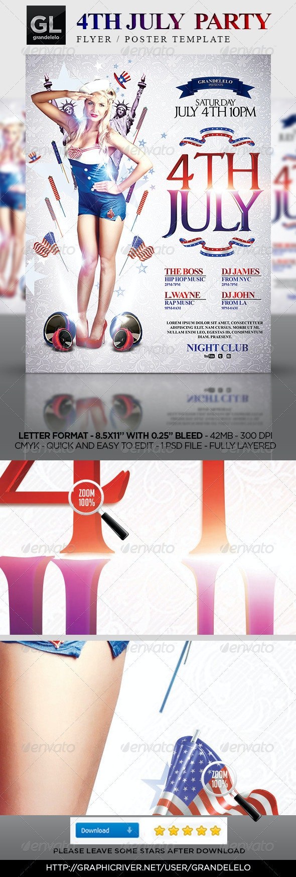 4Th July Party Flyer Template - Holidays Events
