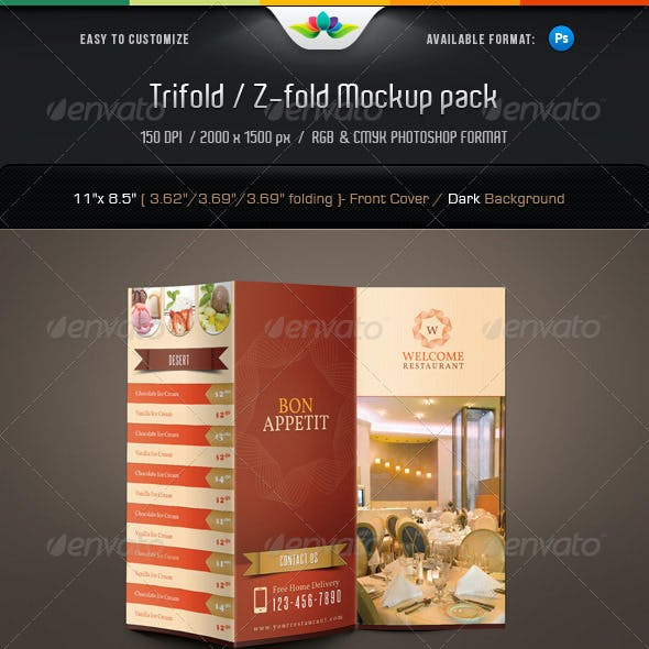 Trifold & Z-fold Mock-Up Pack