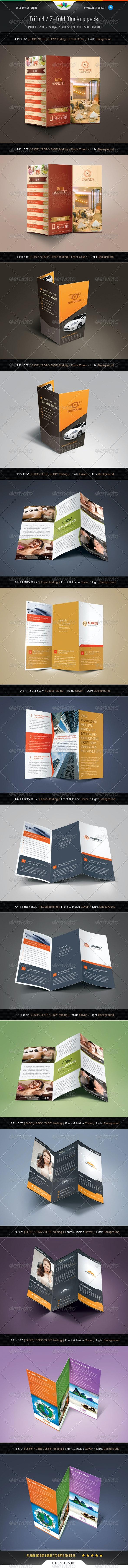 Trifold & Z-fold Mock-Up Pack - Brochures Print